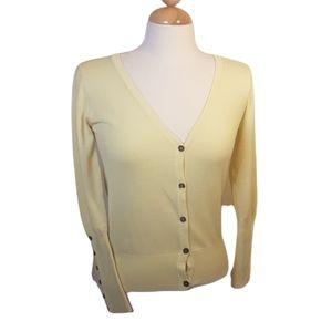 Zara soft yellow  vee neck cardigan